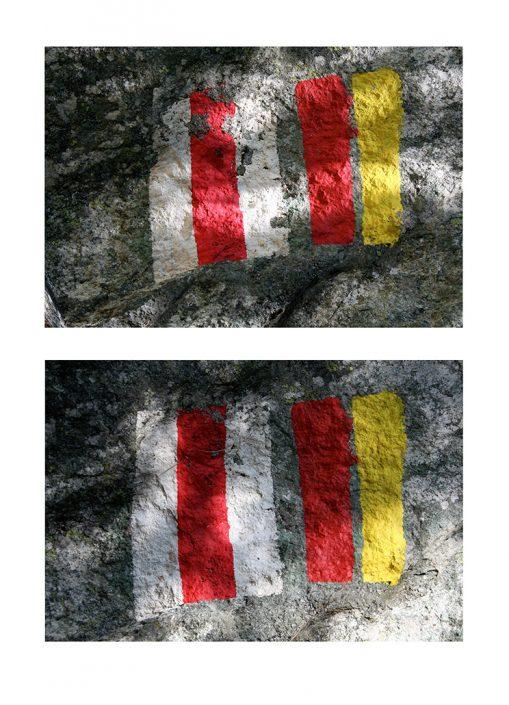 Felix Thyes, Doppelzeichen, 2009, Fotografie (bearbeitet), zweimal 27 x 18 cm, Blatt 35 x 50 cm