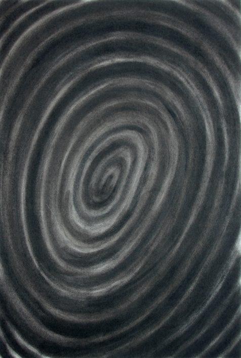 Felix Thyes, Spirale 1, Kohle auf Papier, 65 x 95 cm (Papier 70 x 100 cm)
