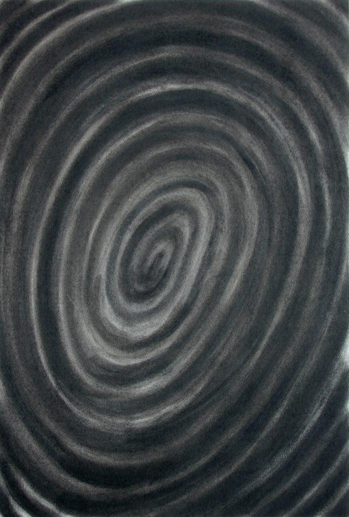 Felix Thyes, Spirale 1, 2017, Kohle auf Papier, 65 x 95 cm (Papier 70 x 100 cm)
