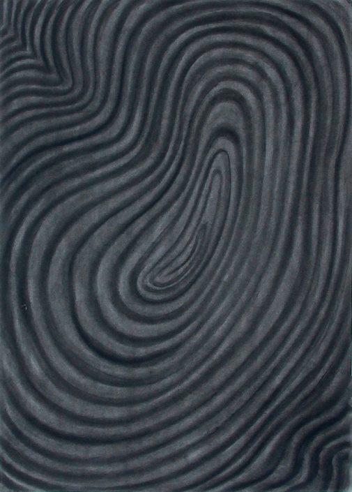 Felix Thyes, Spirale 2, Kohle auf Papier, 65 x 95 cm (Papier 70 x 100 cm)
