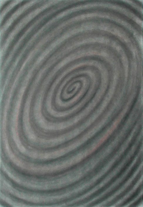 Felix Thyes, Spirale 3, Kohle auf Papier, 65 x 95 cm (Papier 70 x 100 cm)