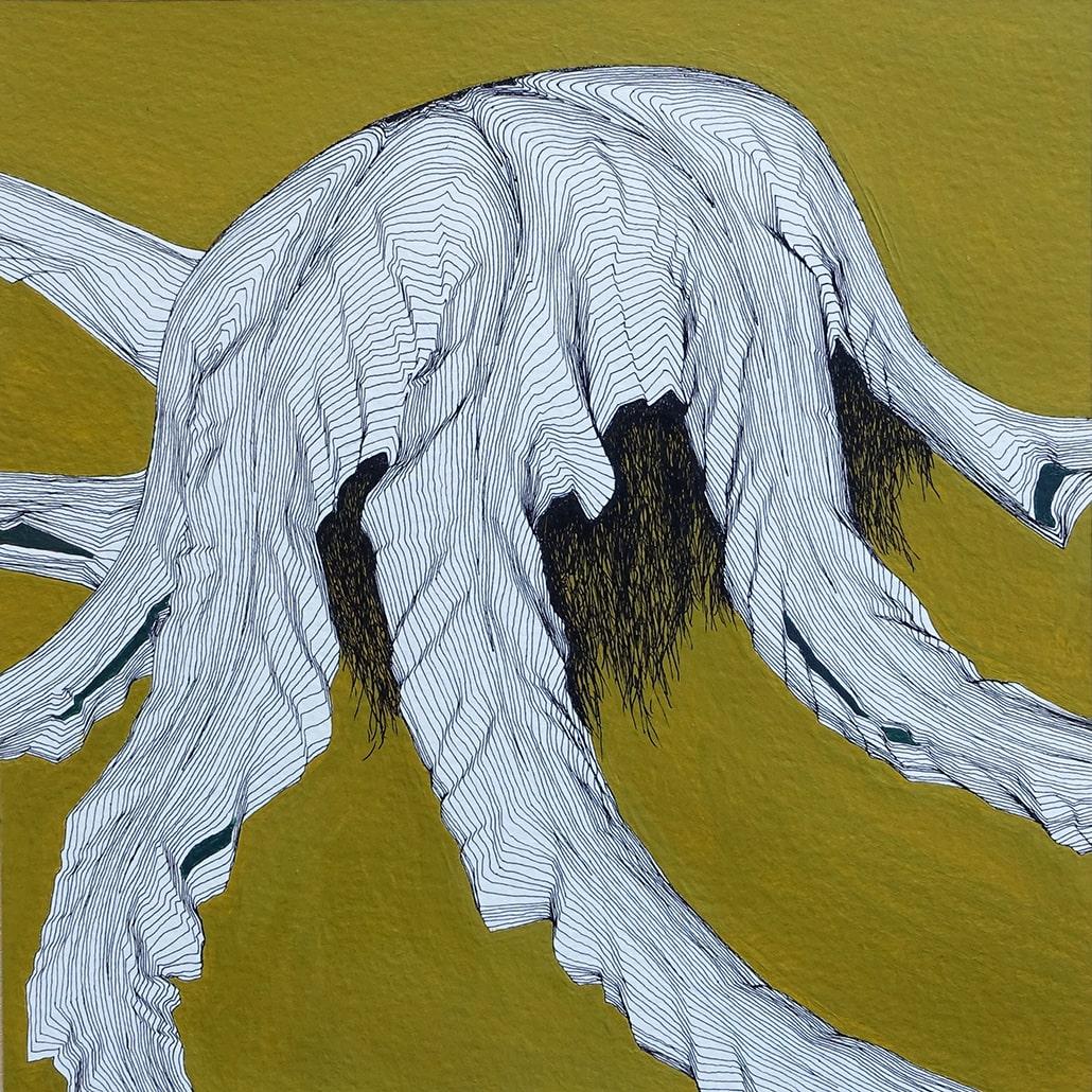 Felix Thyes, Cyberkrake, 2016, Tusche und Acrylfarbe auf Papier, 20 x 20 cm