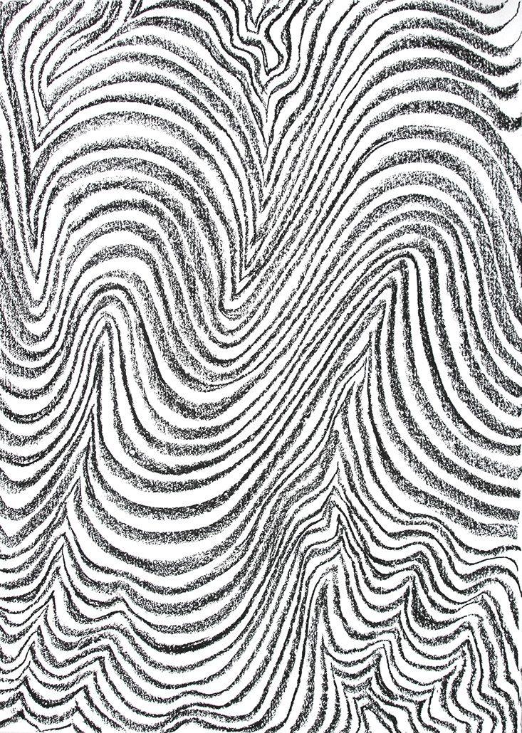 Felix Thyes, Rauf und runter, 2017, Blockkreide auf Papier, 65,5 x 50 cm