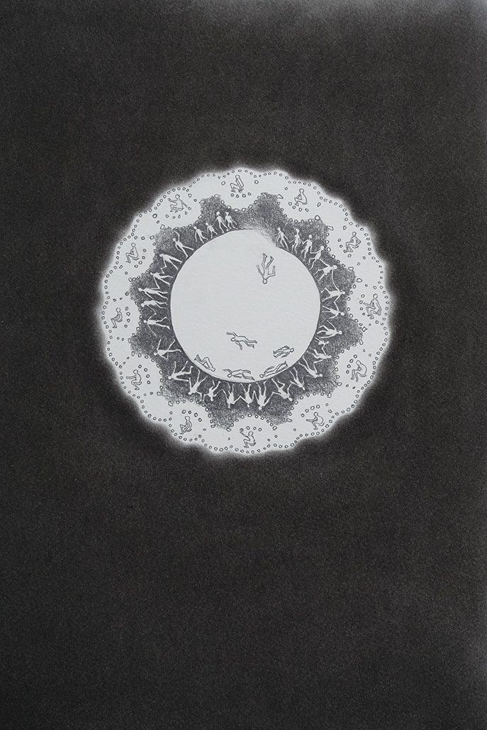Felix Thyes, Unten und oben, 2016, Bleistift und Pastellkreide auf Papier, 30 x 40 cm