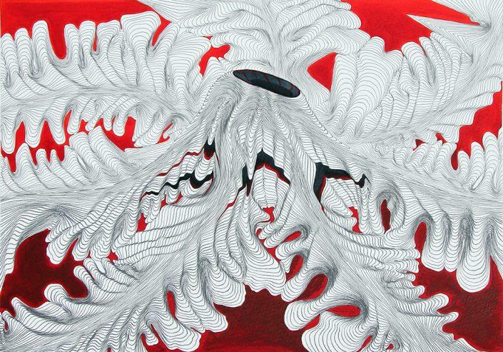 Felix Thyes, Ohne Titel, 2016, Bleistift + Acryl auf Papier, 42 x 30 cm