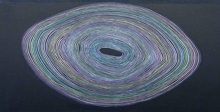 Felix Thyes, Ruhender Wirbel, 2010, Acryl auf Leinwand, 60 x 30 cm