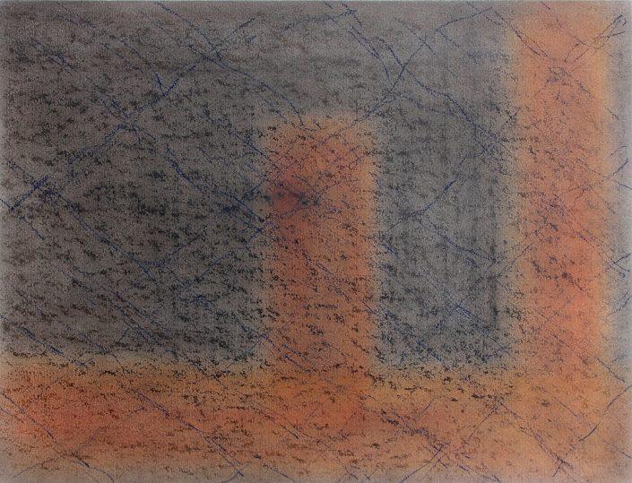 Felix Thyes, Unter der Treppe, 2013, Wachs/Pastell/Farbstift auf Papier, 64 x 50 cm