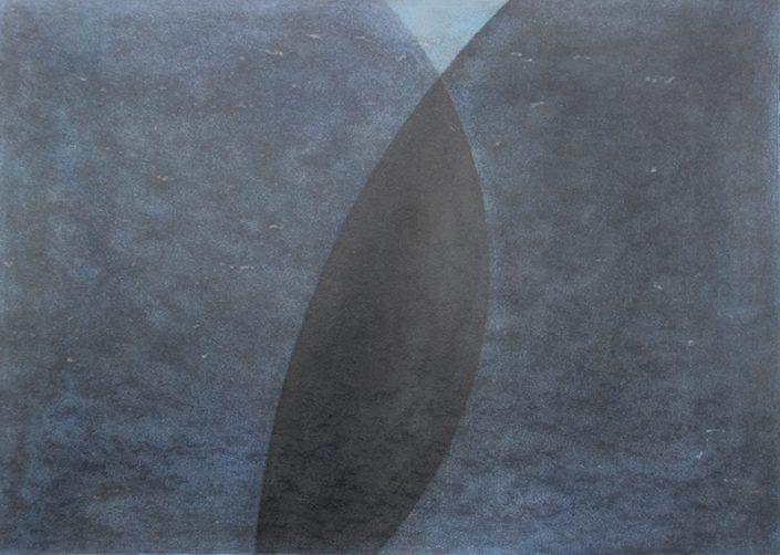 Felix Thyes, Schattenwanderung, 2013, Wachs/Pastell auf Papier, 50 x 70 cm