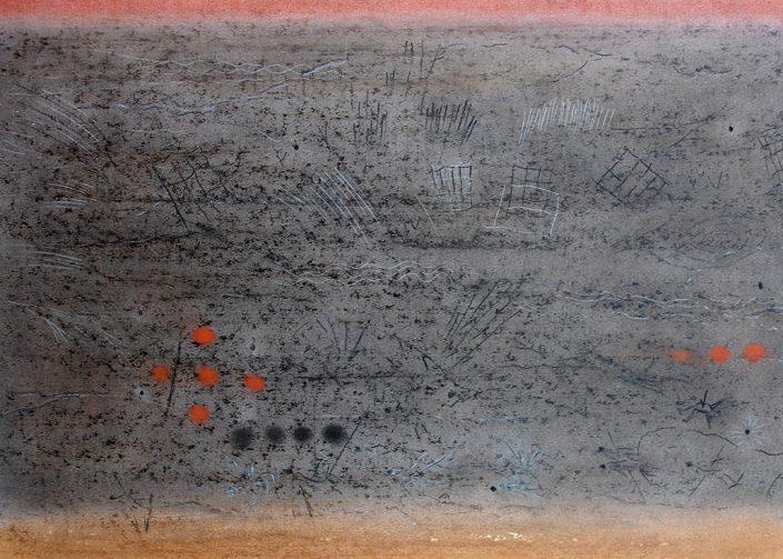 Felix Thyes, Lascaux II-1, 2014, Wachs + Pastell + Kohle auf Papier, 70 x 50 cm