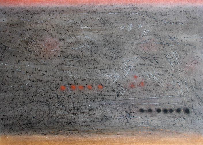 Felix Thyes, Lascaux II-2, 2014, Wachs + Pastell + Kohle auf Papier, 70 x 50 cm