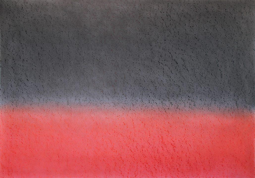 Felix Thyes, Feuer in Holland I, 2015, Wachs und Pastell auf Papier, 100 x 70 cm