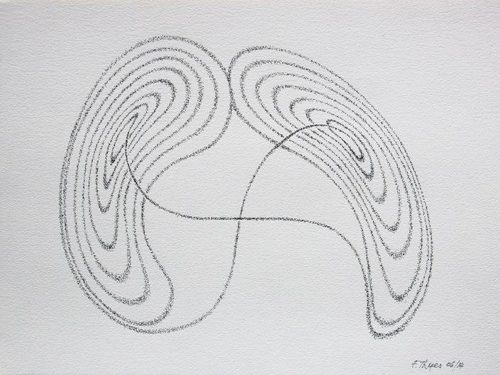 Felix Thyes, Lorenz-Attraktor 1, 2014, Tusche (gepünktelt) auf Papier, 32 x 24 cm