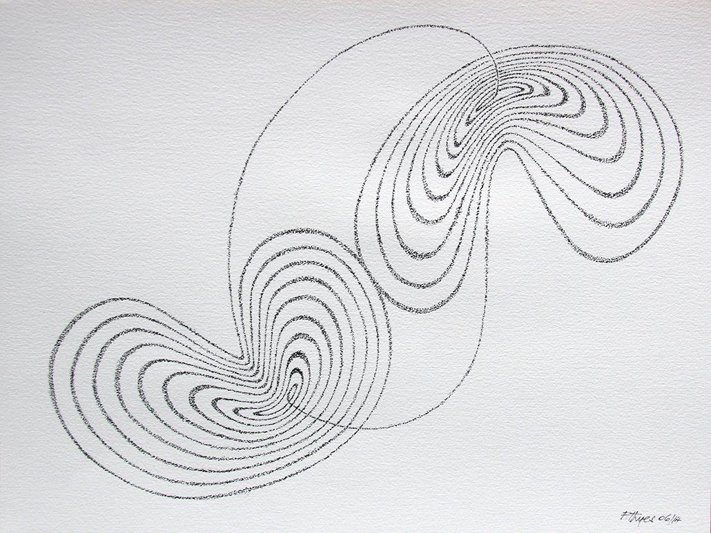 Felix Thyes, Lorenz-Attraktor 2, 2014, Tusche (gepünktelt) auf Papier, 32 x 24 cm