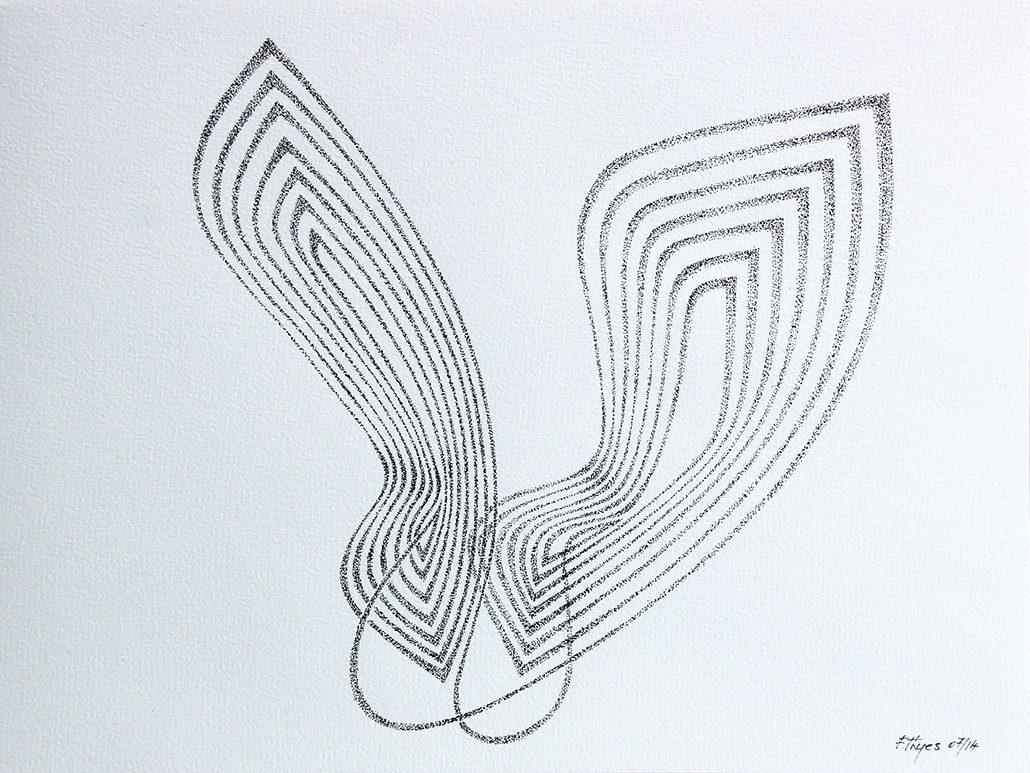 Felix Thyes, Lorenz-Attraktor 3, 2014, Tusche (gepünktelt) auf Papier, 32 x 24 cm