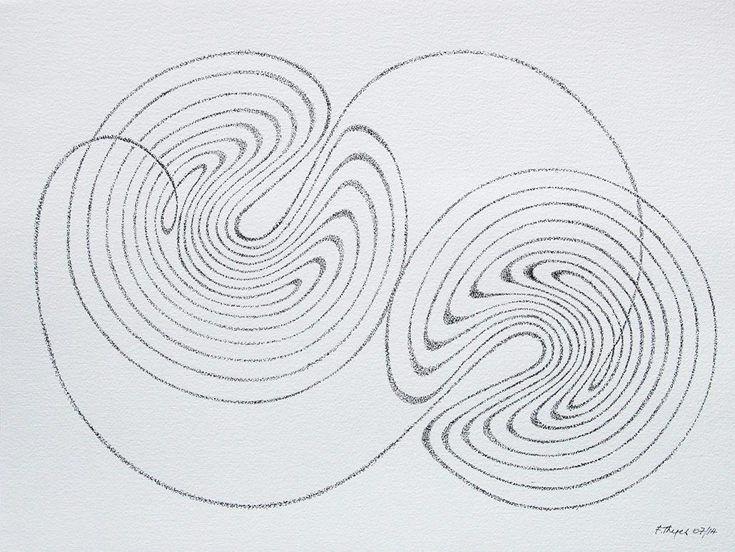 Felix Thyes, Lorenz-Attraktor 4, 2014, Tusche (gepünktelt) auf Papier, 32 x 24 cm