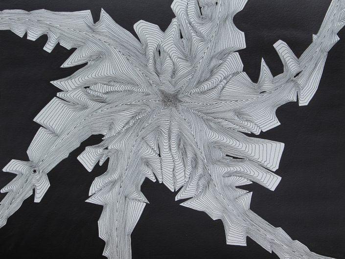 Felix Thyes, Spinne 1, 2014, Tusche und Acryl auf Papier, 32 x 24 cm