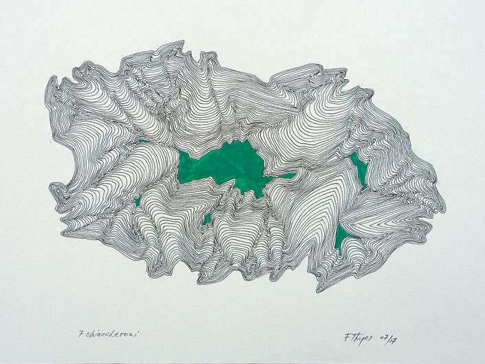 Felix Thyes, Sette Chiaccheroni, 2017, 24 x 32 cm, Tusche und Acryl