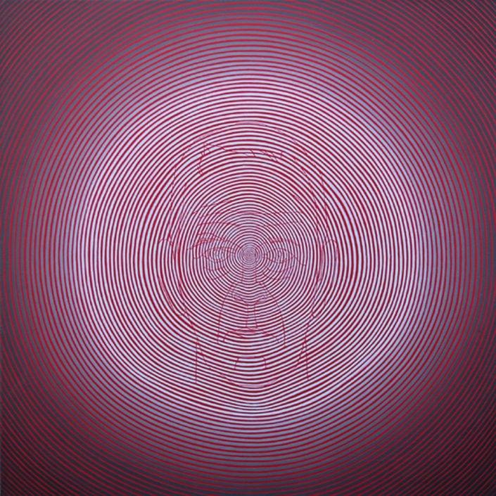 Felix Thyes, emc2 (Selbstbildnis), 2013, Acryl auf Leinwand, 50 x 50 cm