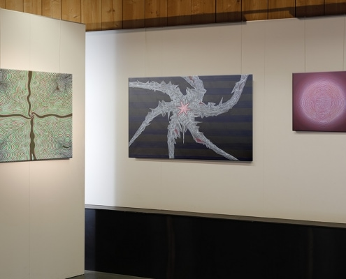 Felix Thyes - Ad Infinitum. Ausstellungsansicht: Drei Gemälde von 2013-2017, Acryl auf Leinwand.