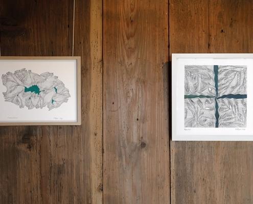 Felix Thyes - Ad Infinitum. Ausstellungsansicht: Zwei Zeichnungen von 2017, Tusche und Acryl auf Papier.