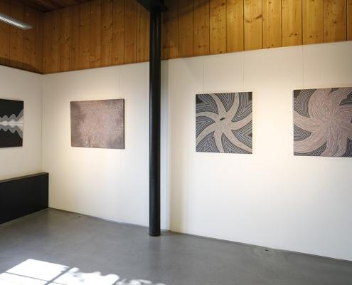 Felix Thyes - Ad Infinitum. Ausstellungsansicht: Vier Gemälde von 2014-2016, Acryl auf Leinwand, drei 80 x 80 cm und eines 80 x 120 cm.