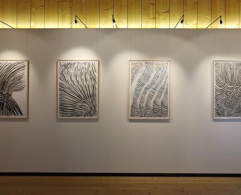 Felix Thyes - Ad Infinitum. Ausstellungsansicht: Vier Zeichnungen von 2017, Kohle (und Pastell) auf Papier, 100 x 70 cm.