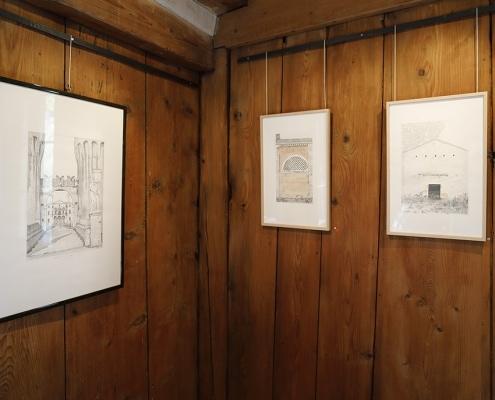 Felix Thyes - Ad Infinitum. Ausstellungsansicht: Drei Zeichnungen von 1984/85, Bleistift (und Aquarell) auf Papier.