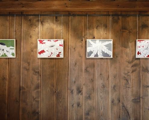 Felix Thyes - Ad Infinitum. Ausstellungsansicht: Vier Zeichnungen, alle ohne Titel, 2016, Bleistift + Acryl auf Papier, 42 x 30 cm.